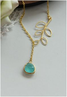 A Leaf Branch and Blue Mint Opal Glass Jewel Lariat