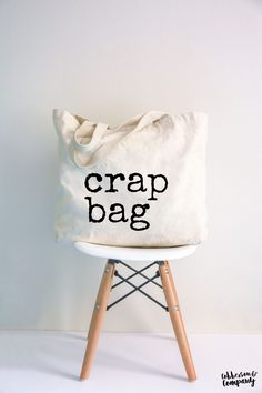 "Large ""crap bag"" canvas tote bag for Friends lovers. Gift With funny sayings. Inspired by Monica, Ra Bag Quotes, Pink Leather, Leather Bags, Leather Backpacks, Leather Wallets, Camo Purse, Canvas Tote Bags, Canvas Totes, Diy Tote Bag"