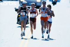 1982 Boston Marathon ~ the famous Duel in the Sun.  Dick Beardsley #3, Bill Rodgers #1, Alberto Salazar #2 (eventual winner) and Ed Mendoz #133 battle near the halfway point.  Salazar ran 2:08:54 to beat Beardsley by 3 seconds in 80 degree heat. Photo by corbisimages.com
