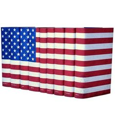 [Juniper Books] 'American Flag' Book Set, Include works by: Mark Twain, Edgar Allan Poe, Ulysses S. Grant, Abraham Lincoln - $350