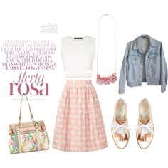#Summer #outfit #midi #skirt #porcelain #flowers #necklace #croptop