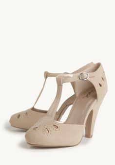 Shopruche.com...Lizzy Cutout Pumps In Taupe Crafted in luxurious faux suede, these gorgeous sandy-taupe pumps feature delicate cutouts at the toe and ankle. Finished with a T-strap design and an adjustable ankle strap. $40