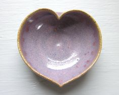 purple ceramic heart bowl   3 inches by JDWolfePottery on Etsy, $12.00