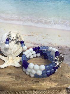 Stacking sea glass jewelry set beach glass by SeasideJewelry1