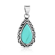 Antiqued 925 Sterling Turquoise Teardrop Pendant Filigree Scroll ($19) ❤ liked on Polyvore featuring jewelry, bling jewelry deals, blue, blue turquoise jewelry, native american indian jewelry, indian jewellery, indian turquoise jewelry and vintage american indian jewelry