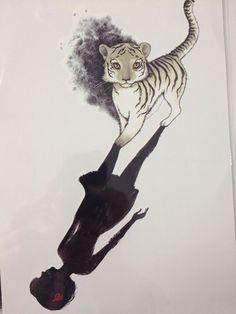 Hot Sale21 X 15 CM Girl With Small Tiger Tattoo Stickers Temporary Body Art Waterproof#74 http://ali.pub/5e9tq