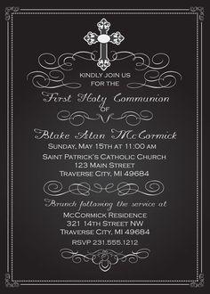 Chalkboard First Communion Invitations #invitations  #communion