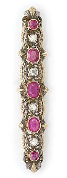 Antique Silver, Gold, Ruby and Diamond Brooch  5 oval rubies ap. 1.90 cts., ap. 6 dwt.