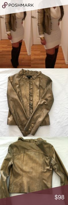 Gold Arden B 100% Leather Jacket Gold Arden B 100% Leather Jacket In really good condition  Only worn once  Size small Arden B Jackets & Coats