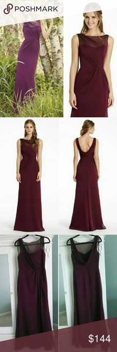 Jim Hjelm Merlot Red Chiffon Dress 5551 Bridesmaid Jim Hjelm JLM Couture Style 5551 Size 10. Merlot luminescent chiffon A-line bridesmaid gown, bateau neckline, natural waist with a cowl back. Would also be a beautiful Mother of the Bride or Groom Dress. Does not have original tags, but I do not see any defects and consider it to be in new condition. Please let me know if you have any questions! Jim Hjelm  Dresses Wedding