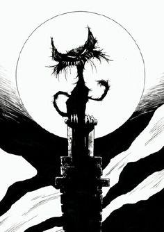 black halloween cat illustration - Google Search