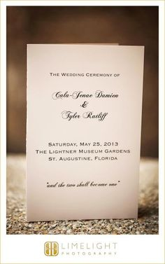 CASA MONICA Wedding, Wedding Ceremony Program, Limelight Photography, Wedding Photography, www.stepintothelimelight.com