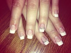 White tips and silver gems #acrylics #square #nails #gems #wedding
