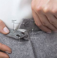 [Couture Techniques for a Better Fitting Waistband] Learn how hooks, eyes, snaps and a variety of small finishing details can help build a better waistband. From: Threads Magazine http://www.threadsmagazine.com/item/29266/couture-techniques-for-a-better-fitting-waistband/page/all