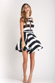 Nadine Navy Striped Halter Fit and Flare Dress