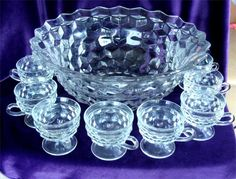 Crystal Fostoria AMERICA Punch Bowl with 10 CUPS by GypsySeller