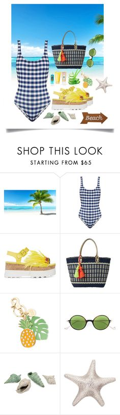 """Beach Days"" by sylviega ❤ liked on Polyvore featuring CKK Home Decor, Solid & Striped, Miu Miu, Lilly Pulitzer, See by Chloé, Eyepetizer, Piel Leather and Mud Pie"