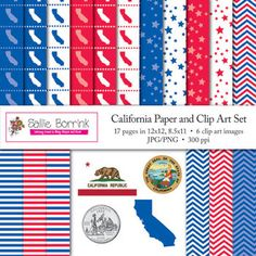 CALIFORNIA Clip Art and Digital Paper with Flag, Seal, Quarter for State History, Government and Social Studies