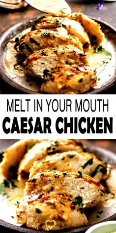 Baked Caesar Chicken Recipe | 4 Ingredients Melt in Your Mouth Caesar Chicken is the ideal melt in your mouth recipe! It is creamy, easy, and full of flavor. This simple chicken recipe just has 4 Ingredients and requires less than 30 minutes. This baked caesar chicken is the easiest and tastiest weeknight dinner ever! #chicken #chickenrecipes #bakedchicken #caesarchicken #recipe #dinner #bakedcaesarchicken #recipes<br> Caesar Chicken is the ideal melt in your mouth recipe! It is creamy… Easy Chicken Dinner Recipes, Healthy Pasta Recipes, Healthy Pastas, Easy Healthy Dinners, Quick Easy Meals, Lunch Recipes, Health Recipes, Dinner Healthy, Easy Recipes