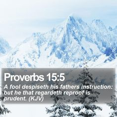 Proverbs 15:5 A fool despiseth his fathers instruction: but he that regardeth reproof is prudent. (KJV)  #Love #Purpose #Disciple #BibleVerse #JesusIsLord http://www.bible-sms.com/
