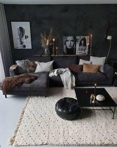 New living room design ideas for apartment interior design 08 Dark Living Rooms, Living Room Decor Cozy, Boho Living Room, Bedroom Decor, Modern Living, Small Living, Cozy Living, Masculine Living Rooms, Living Room Ideas Dark Couch