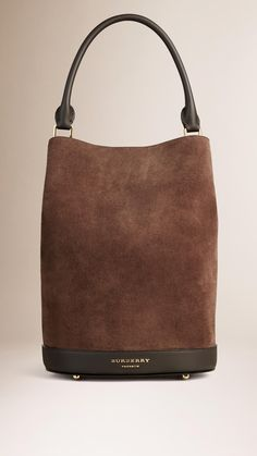 The Bucket Bag in Suede Bitter Chocolate | Burberry