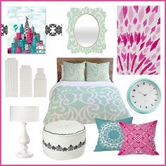 Pink and mint green room inspiration –mixing & matching patterns and colors!