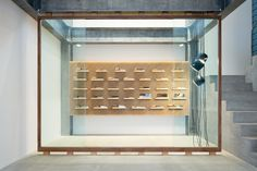 located in a town with over 300 years of history in handcrafting knives, the tokyo-based designer has created a distinctive interlocking timber display for the products.