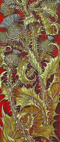 Anton Seder, Thistle, 1890 Would look lovely with tartan Textures Patterns, Fabric Patterns, Print Patterns, Botanical Art, Botanical Illustration, Art Nouveau Pintura, Stoff Design, Wow Art, Celtic Art