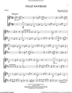 Feliciano - Feliz Navidad sheet music for two violins (duets, violin duets) Christmas Sheet Music, Violin Music, Music Score, Clarinet, Music Lessons, Piano, Xmas, Fantasy, Violin