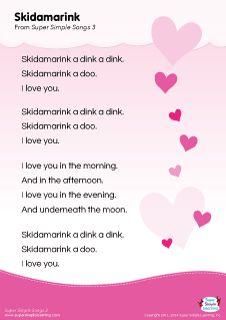 "Lyrics poster for the ""Skidamarink"" song from Super Simple Learning. #kidssongs #kindergarten #ESL"