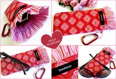 Glasses Case With Pretty Ruffle & Handy Key Ring