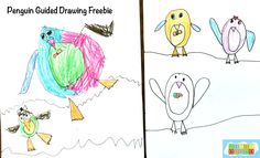 Guided Drawing Penguins freebie from HeidiSongs.  #kindergarten