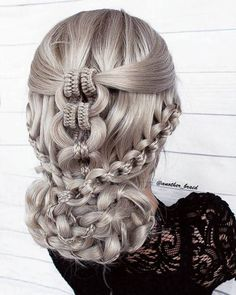 Chain braid updo combined with infinity braids. Chain braid updo combined with infinity braids. Wedding Hairstyles For Long Hair, Box Braids Hairstyles, Pretty Hairstyles, Hairstyles Videos, Viking Hairstyles, Dance Hairstyles, Ethnic Hairstyles, Hairstyles 2018, Latest Hairstyles