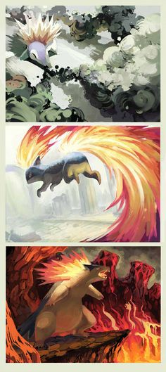 Johto Project-155 156 157 by ~onemegawatt on deviantART (Cyndaquil, Quilava & Typhlosion)