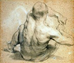 """Seated Man, Leaning Backwards"" by Anthony Van Dyck, graphite drawing, Human Figure Drawing, Guy Drawing, Life Drawing, Drawing People, Drawing Sketches, Painting & Drawing, Art Drawings, Figure Drawing Reference, Figure Drawings"
