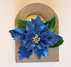Christmas wooden gift-Blue Poinsettia gift bags-Gift ideas-Holidays gift ideas- Wooden gift bags- Holidays gift-Silver wooden tote