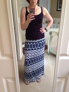 #2 StitchFix - skirt - cute.  Not the top I would wear (this is purple) - but it's what I grabbed.  Need to work out what to wear with it.