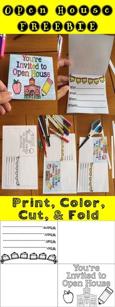 Use this cute and simple invite to notify your parents when your Open House will be.  Simply just print, color, cut and fold.   Follow me on TPT for more exciting activities and FREEBIES!! All new products are 50% off for the first 24 hours.   Don't forget to leave feedback. TPT gives credit for future purchases.   Like me on Facebook too: www.facebook.com/rockininsecond