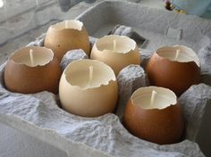 Egg candles. Great for Easter or baby shower decor!