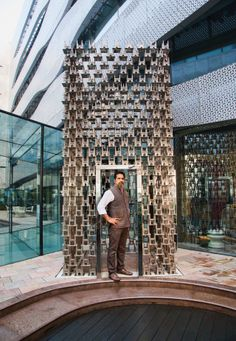 The month of #April features the renowned artist Sudarshan Shetty standing alongside one of his famous creations