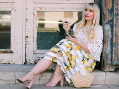 Love how feminine this lemon print skirt is! Check out this post to see Why I Started My Blog!