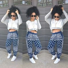 Bandanna Print Pants. Harem Pants. Crop Sweater. Urban Fashion. Urban Outfit. Hip Hop Fashion. Swag. India Westbrooks