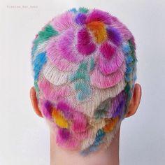 #Floral #HairCarving  for @popsugarbeauty!  Video posted on their facebook page! (Using @joico #haircolor)  (model @bowiejanemusic)   #hair #buzzcut #pixie #girlswithshorthair #shorthairdontcare #wahl #clippercut #pixiecut #rainbowhair #unicornhair #bleach #colorfulhair #estetica #beautylaunchpad #modernsalon #behindthechair #americansalon #hairbrained #hairnerd #hairfashion