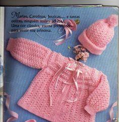 Risultati immagini per ponto de trico chains paternn Crochet Bebe, Knit Or Crochet, Lace Knitting, Knitting Socks, Baby Boy Knitting Patterns, Knitting For Kids, Crochet Girls Dress Pattern, Knitted Slippers, Baby Sweaters