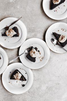 flourless chocolate olive oil cake with citrus coffee cream