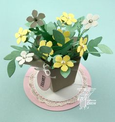#CI07 Colour INKspiration Challenges on Facebook, Flower Pot Pop-Up Card inspired by H2 Designs, Bronwyn Eastley, Independent Stampin' Up! Demonstrator, Australia