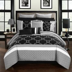 Black Cream And Gray Ashley Gomes Comforter Sets Full Comforter Sets Comfortable Bedroom