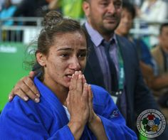 Kosovo's first ever Olympic medal is GOLD as flagbearer Majlinda Kelmendi wins the -52kg title! Tears of joy from both her and her coach!  #JudoRio2016 #Judo #MoreThanASport  © IJF Media Team - Jack Willingham