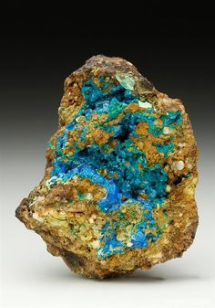 An excellent specimen of rare blue- green and bright blue lustrous Liroconite…